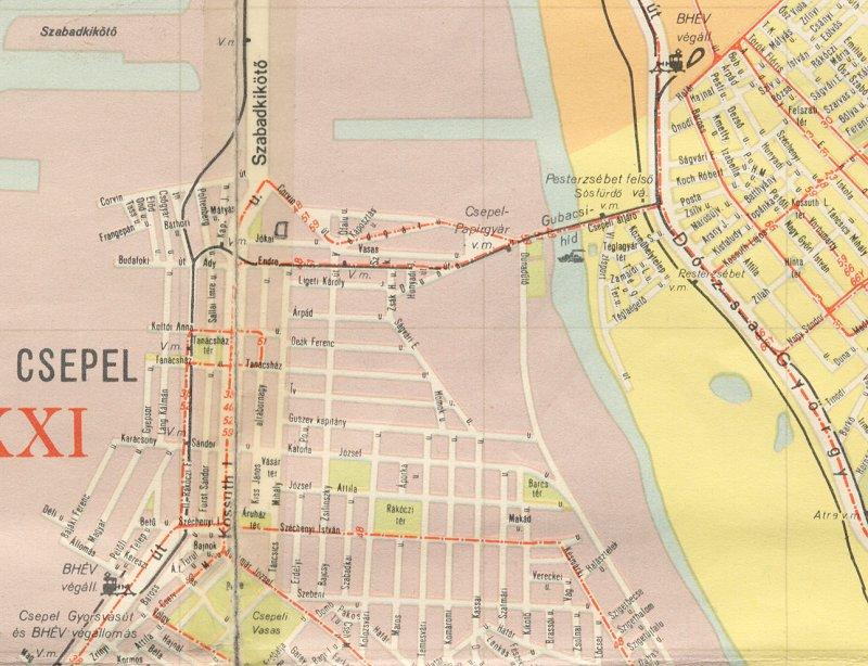 csepel térkép HamPage: Pesterzsébet elvesztett sínei II. csepel térkép